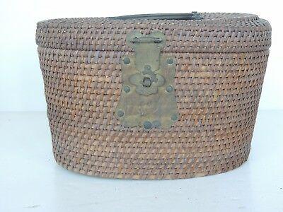 Antique Chinese Export woven basket brass hinge handled oval