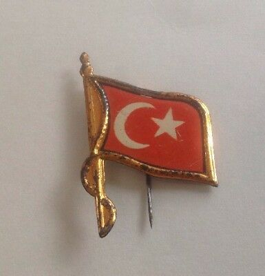 Antique Turkish Flag Pin 1890 - 1910 Tin Metal