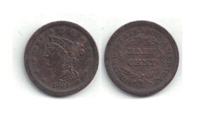 1854 Half Cent Coin in Extra Fine Condition ~