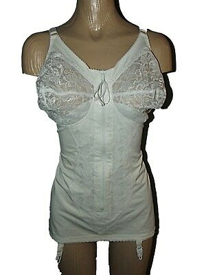 VTG 60's SATIN PANEL LACE BUST FULL CORSELETTE / OB GIRDLE 4 SUSPENDERS SZ 44C