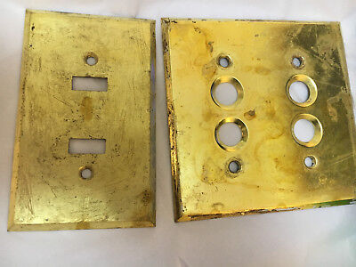 Two Antique Brass Electrical Switch Plate Covers, One Push Button