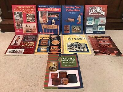 Lot Of 9 Antique Yellow Ware Country Store & Collectible Books And Price Guides