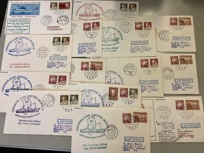 1972 Greenland Arctic Covers (total 14), various ships and dates *d