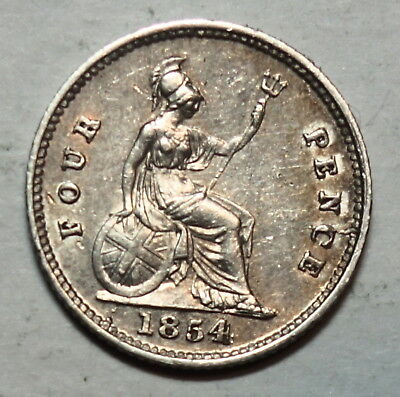 Great Britain :  Maundy Fourpence 1854.