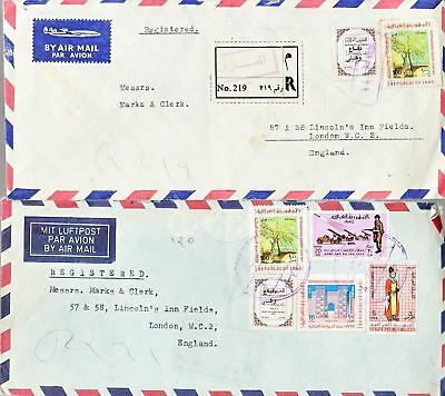 1960's Iraq #426,#444,#454,#C24(2),#RA14(3), meter on lot of 3 covs to England*d