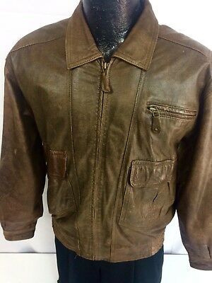 add5dd5f0 VTG 42 LEATHER Brown Pilot Bomber A-2 G1 Air Force Flight Cockpit ...