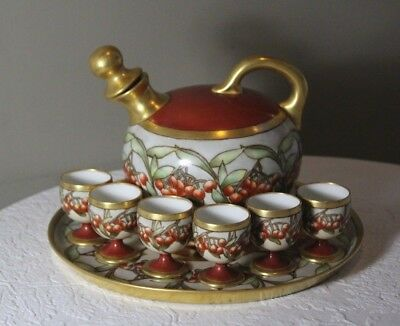 Antique Limoges France Hand Painted Cherries Liquor Decanter Cordial Set & Tray