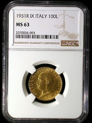 Italy Empire 1931 R IX Gold 100 Lira *NGC MS-63* Fascist Italy Rare 3 Year Type