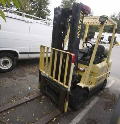 Hyster 50 Forklift, 5839 Hours-3 Tier Mast -14' Height--Forks Go In & Out  VIDEO