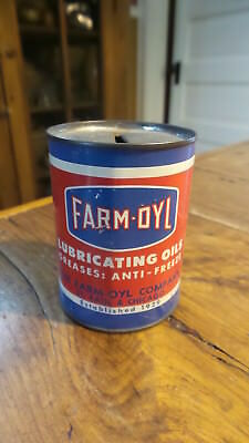 Vintage Advertising  FARM-OYL LUBRICATING OILS, GREASES, TIN Can BANK
