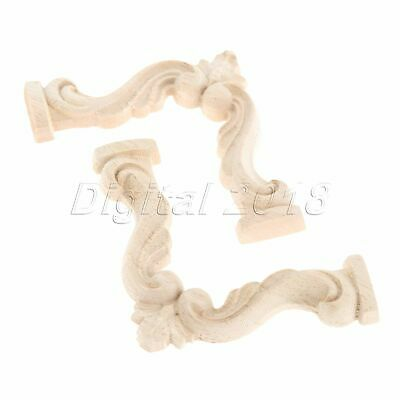 7cm*7cm Wood Carved Corner Onlay Applique Frame Decoration Unpainted Furniture