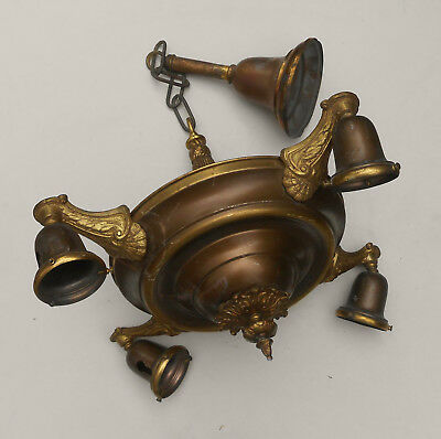 Antique 1920s Victorian 4-Arm Brass Pan Ceiling Light Fixture Original Wiring