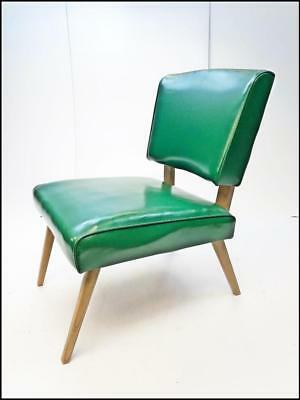 Mid Century Modern Slipper Chair 1950s vinyl lounge danish atomic vintage GREEN