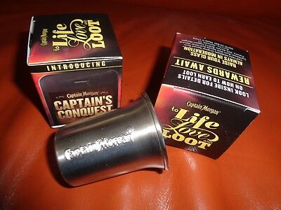 Captain Morgan Shot Glasses (2) To Live Love & Loot Limited Metal New! Cool!