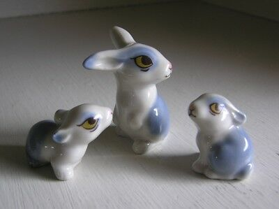 Wade Whimsies Blue & White Bunny Rabbit Figurines Family