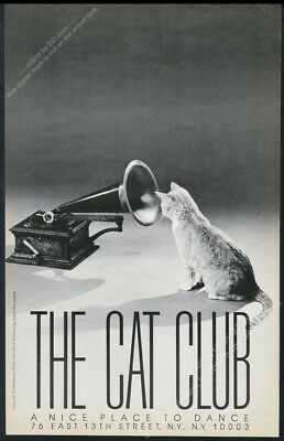 1985 cat looking into gramophone Nipper RCA parody The Cat Club vintage print ad