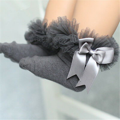 Toddler Baby Kids Girl Princess Bowknot Sock Lace Cotton Ankle Socks Gray M Hot
