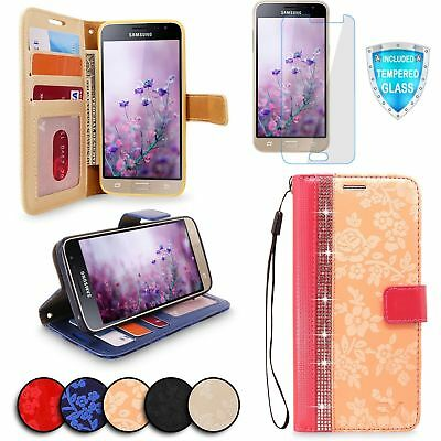 For Samsung Galaxy J3 2016 Leather Wallet Flip Stand Case Cover Tempered Glass