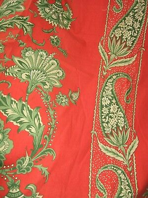 2 Vintage Sanderson Cotton Fabric Curtain Panels-Screen Print-Red Green Stylised
