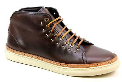 Mens Stow & Son Nivara Brown Leather Lace Retro Hi Top Trainers Uk Size Rrp £125