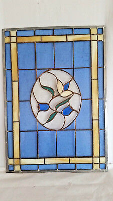 Contemporary Leaded Blue Glass Window Panel with Floral Pattern & White Border
