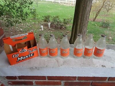Vintage Lot Of 6 Moxie Soda Bottles With Carrier Paper Label Catawissa Pa Bottle