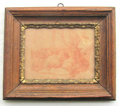 18th c Red Chalk Drawing of Goats-Period Frame