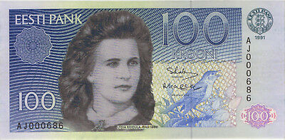 Estland / Estonia 100 Kronen 1991 Pick 74a (1) low number