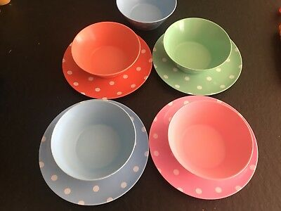 Cath Kidston Spotty Melamine Bowls Plates Pink Blue Red Green Cowboy Polka Dot