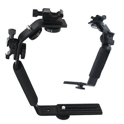 L-Shape Bracket Holder for Flash light Camera mini DV Cam w/2 hot shoe US Seller