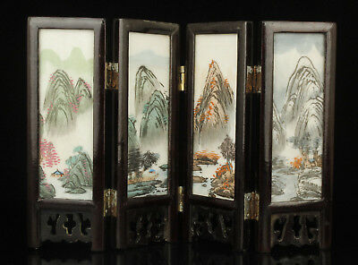 Chinese Old Collectible Handwork Carving Painting Marble Screen