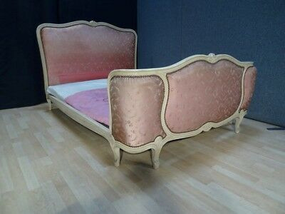 "ANTIQUE vintage Corbeille FRENCH double BED 4ft 6"" DOUBLE UPHOLSTERY SHABBY CHIC"