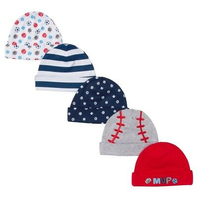 Gerber Sports Themed Infant Hats 0-6 Mos. Football, Soccer & Baseball Themes
