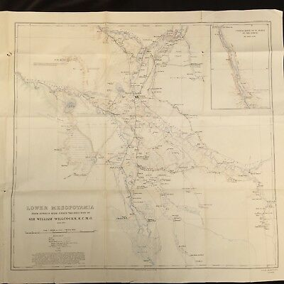 Lower Mesopotamia 1912 Survey Map by William Willcocks for Geographical Journal
