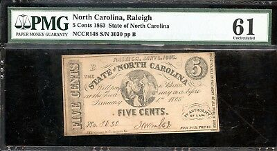 1863 PMG 61 Uncirculated North Carolina 5C Fractional Currency Note FB305