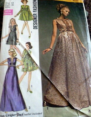 LOVELY VTG 1960S EVENING DRESS DESIGNER Sewing Pattern 14/36 - $6.99 ...