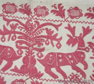 VERY RARE antique 19th C. embroidered linen textile towel Hungarian? Norwegian?