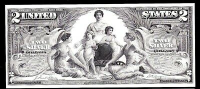 Proof Print or Intaglio Impression by BEP Face of 1896 $2 Silver Certificate