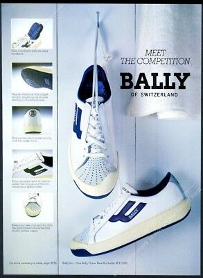 1982 Bally tennis shoes 6 color photo vintage print ad