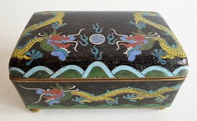 Extremely Rare Antique Chinese Cloisonne Lidded Box - 5 Clawed Imperial Dragon