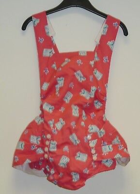 AUTHENTIC VINTAGE UNWORN 1970's PINK BATHING SUIT WITH SKIRT - AGE 4-7 YEARS