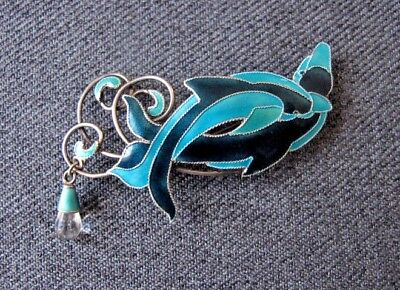 Vintage nice design & colors quartz dangle enamel sterling dolphins pin marked