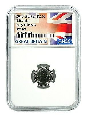 2018 Great Britain 1/10th Oz Platinum Britannia NGC MS69 Early Releases