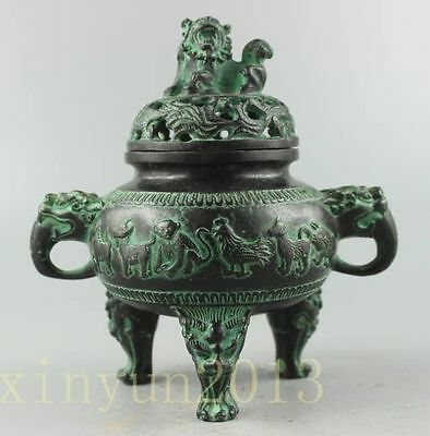 Collectible Decorated Old Handwork Carved 12 Zodiac Dragon Bronze Incense Burner