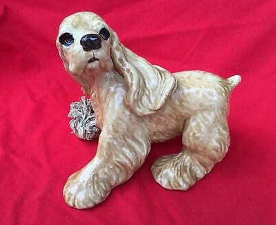 "COCKER  SPANIEL Figurine 5"" Butterscotch Vintage Spaghetti Work"