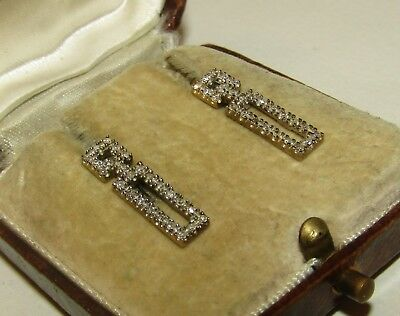 Brilliant, Classy, Art Deco, 9 Ct Gold Earrings/0.5 Carat Old Mine Cut Diamonds