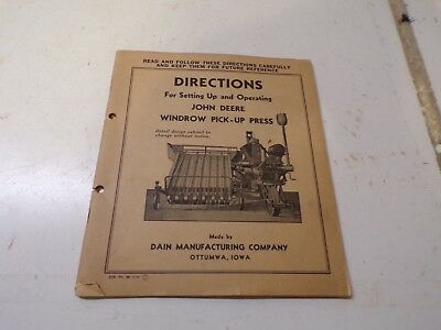 1938 John Deere Windrow Pickup  Hay Press Set up Directions