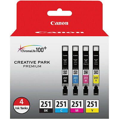 Canon CLI-251 4-Color Black Cyan Magenta & Yellow Ink Tank Value Pack