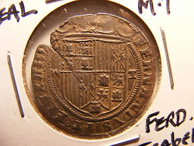 Spain Ca.1497, Silver 1 Real, Toledo Mint, XF, Cracked Flan, Ferdinand & Isabela