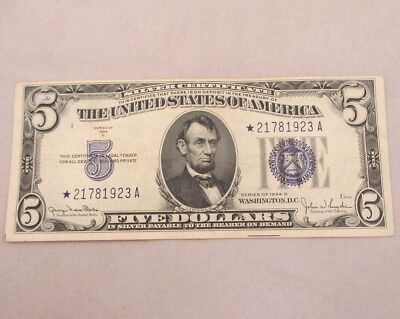 1934 D Silver Certificate United States 5 Dollar Bill Five Dollar Star Note 6009
